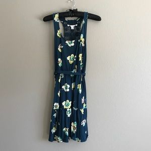 Floral Mid-Length Belted Dress with Crochet Back